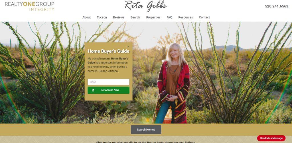 Rita Gibbs' website screenshot