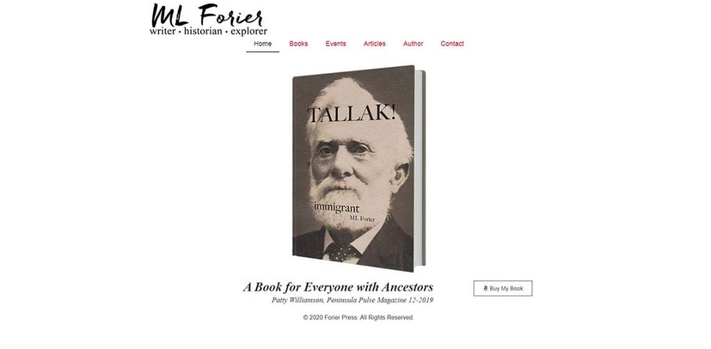 ML Forier's website screenshot